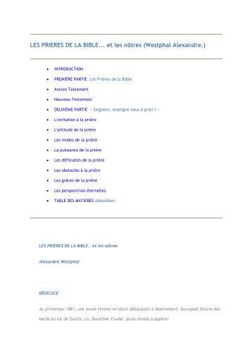 LES PRIERES DE LA BIBLE... et les nôtres (Westphal ... - 456-Bible