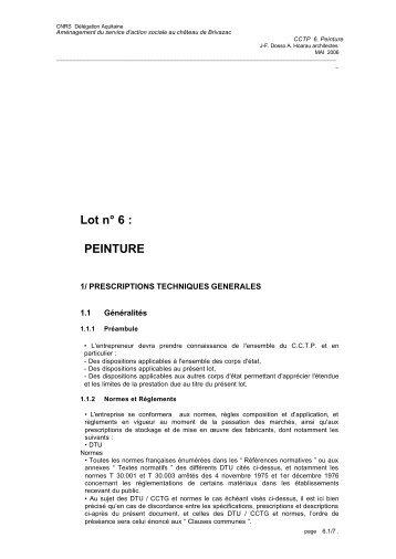 Lot n° 6 : PEINTURE - CNRS