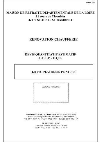 CCTP lot 3 platrerie peinture - Maison de retraite de la Loire