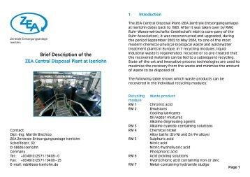 Brief Description of the ZEA Central Disposal Plant at Iserlohn