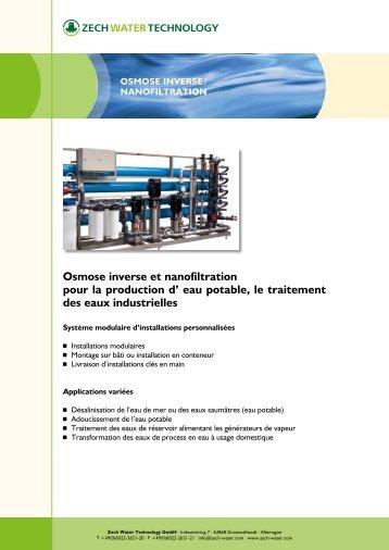 Osmose inverse et nanofiltration - Zech Umwelt GmbH