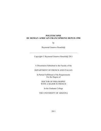 Dissertations university of arizona