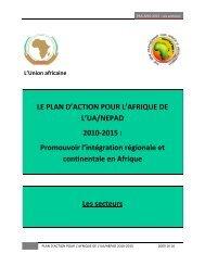 LE PLAN D'ACTION POUR L'AFRIQUE DE L'UA/NEPAD 2010-2015 ...