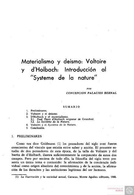 Materialismo Y Deismo Voltaire Y Dholbach Introduccion Al