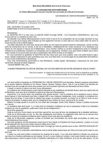 Mgr Delassus – La Conjuration anti-chrétienne - Bibliothèque de ...