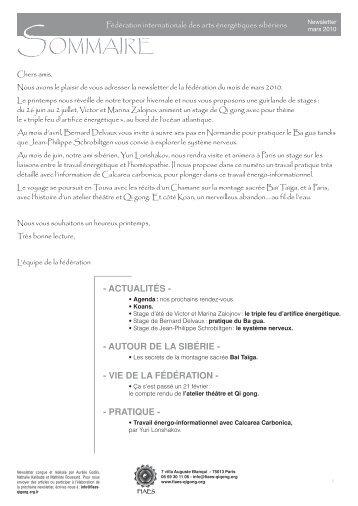 Newsletter mars 2010.pdf - Fédération Internationale des Arts ...