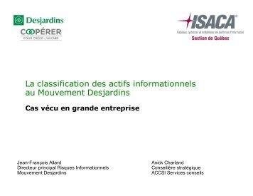 La classification des actifs informationnels au Mouvement ...