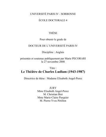 Le Théâtre de Charles Ludlam - Université Paris-Sorbonne