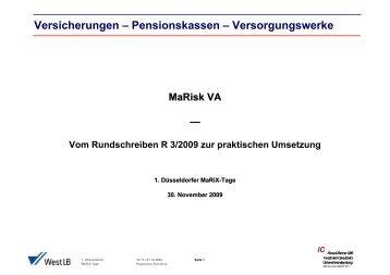 Versicherungen – Pensionskassen – Versorgungswerke