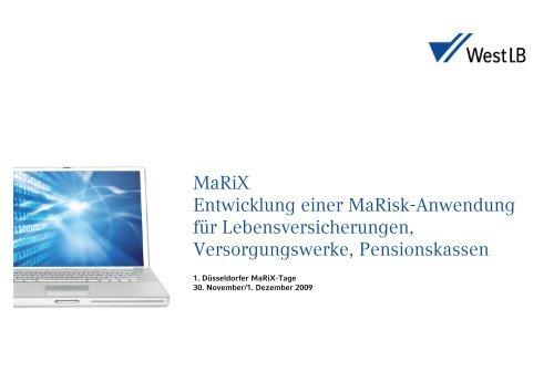 MaRiX Entwicklung einer MaRisk-Anwendung für ... - Xapio GmbH