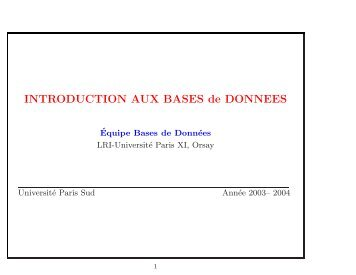 INTRODUCTION AUX BASES de DONNEES - LRI