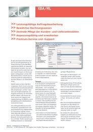 Produktinfo und Funktionsübersicht (PDF) - XBA Software AG