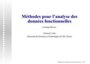 Méthodes pour l'analyse des données fonctionnelles - MADD