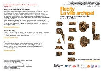 Télécharger la plaquette - Atelier International du Grand Paris