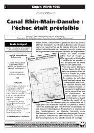 Canal Rhin-Main-Danube: L'échec était prévisible - CLAC Info