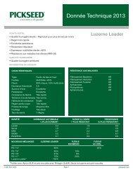 pour télécharger les feuilles techniques (pdf) - Pickseed