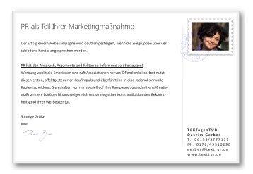 PR als Teil Ihrer Marketingmaßnahme - TEXTagenTUR
