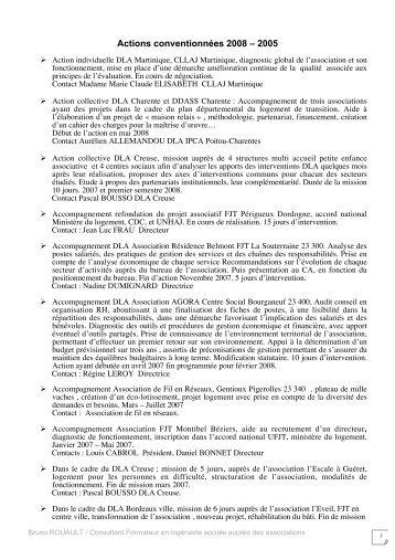 Actions conventionnées 2008 - Bruno Rouault consultant, formateur ...