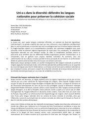 Papier de position sur les langues - Juso