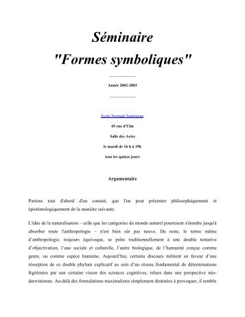 """Séminaire """"Formes symboliques"""""""