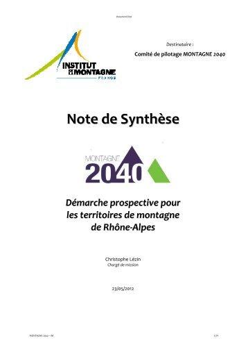 Note de Synthèse - Institut de la Montagne