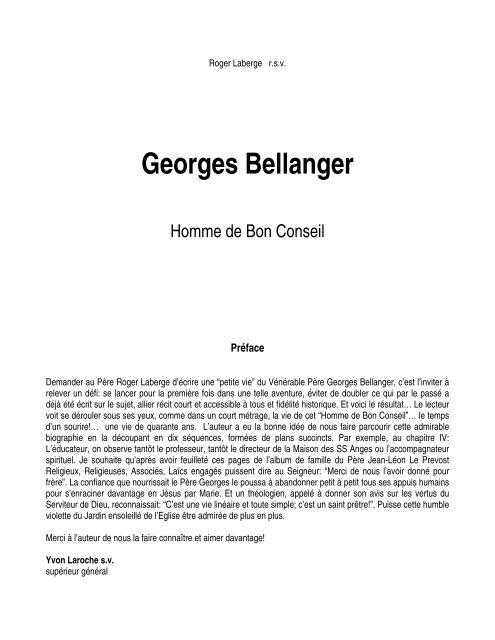 Georges Bellanger - Homme de bon conseil - par Roger Laberge s.v.