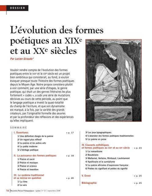Lévolution Des Formes Poétiques Au Xixe Et Au Xx E