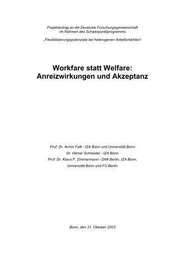 Workfare statt Welfare: Anreizwirkungen und Akzeptanz