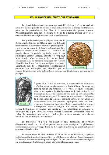 IV - LE MONDE HELLNISTIQUE ET ROMAIN - IES Miguel de Molinos