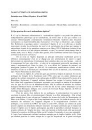 La guerre d'Algérie et le nationalisme algérien Entretien avec Gilbert ...
