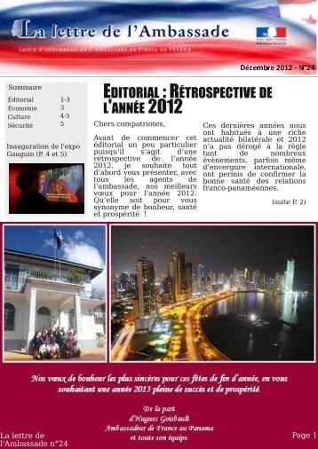 EDITORIAL :RÉTROSPECTIVE DE L'ANNÉE 2012 - L'Ambassade ...