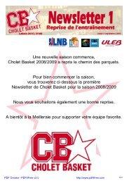 Une nouvelle saison commence, Cholet Basket 2008/2009 a repris ...
