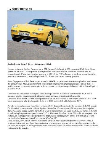 LA PORSCHE 968 CS - Porsche Club 924/944/968 France