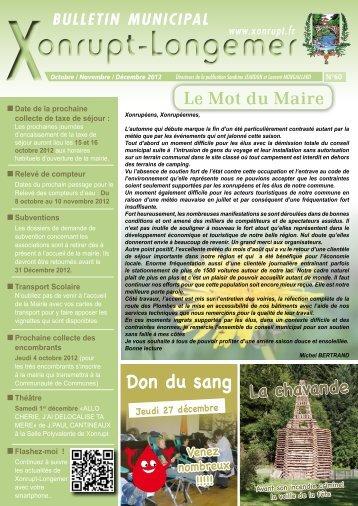 Bulletin Municipal n°60 Octobre 2012 - Xonrupt-Longemer