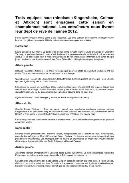 10/01/2013 - Le Sept de rêve 2012