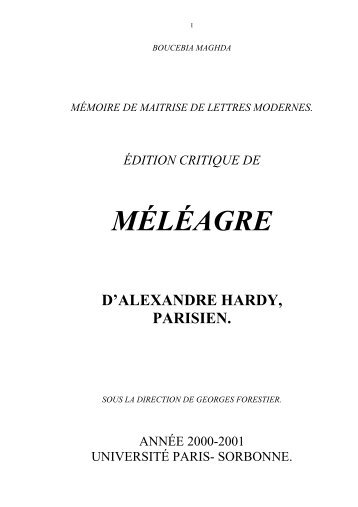 Hardy, MELEAGRE - CRHT - Université Paris-Sorbonne