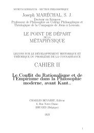 J.Maréchal, Le point de depart de la métaphysique Cahier II 1923 ...