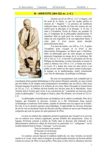 III - ARISTOTE (384-322 av - IES Miguel de Molinos