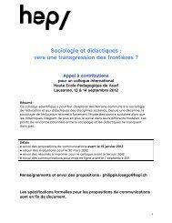 Appel à contribution - HEP Vaud