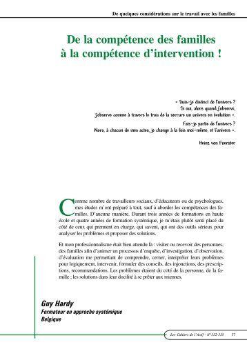 De la compétence des familles à la compétence d'intervention - ACTIF