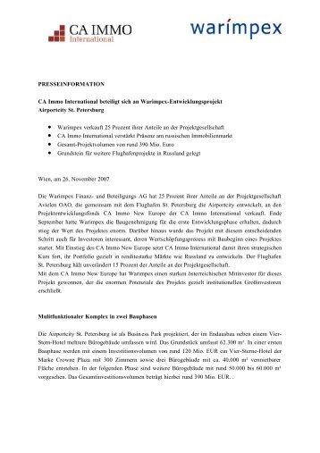 PRESSEINFORMATION CA Immo International beteiligt sich an ...