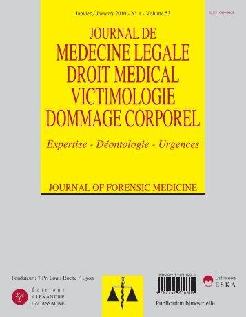 MEDECINE LEGALE DROIT MEDICAL VICTIMOLOGIE DOMMAGE CORPOREL