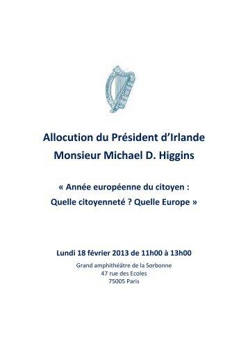 Allocution du Président d'Irlande Monsieur Michael D. Higgins