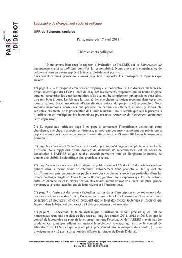 la réponse de Patrick Cingolani - CSPRP - Université Paris Diderot ...