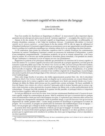 Le tournant cognitif et les sciences du langage