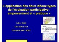 L'application des deux idéaux-types de l'évaluation participative ...