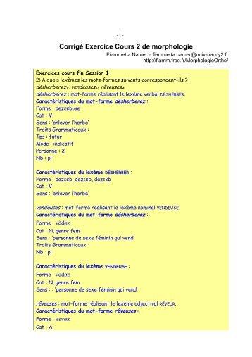Corrigé Exercice Cours 2 de morphologie - Free