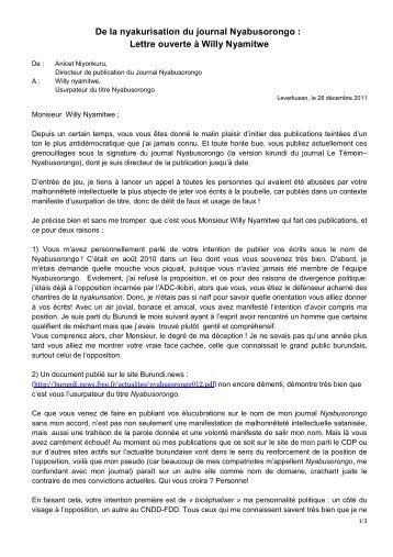 De La Nyakurisation Du Journal Nyabusorongo Burundi News Free
