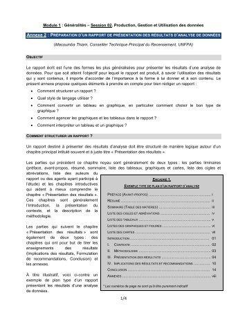 préparation d'un rapport de présentation des résultats d'analyse de ...