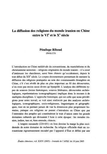 La diffusion des religions du monde iranien en Chine entre ... - AFEC
